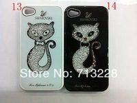 Free Shipping Lovers Bling Original Swarovski Crystal Case cover for iPhone 4 4S SmartPhone without retail package&wholesale