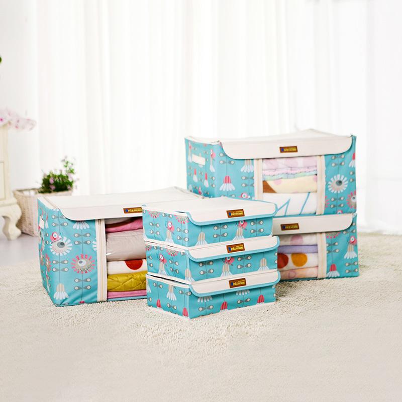 Oxford fabric steel wire rack box storage box six pieces set clothing toy box(China (Mainland))
