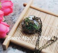Free ship!! good 20sets/lot bronze 25mm half glass globe &crown base & cap & necklace set  glass vial pendant glass bubble