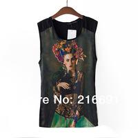 2014 new fashion Europe women stylish casual beautiful girl printed summer Chiffon stitching vest T-shirt #E208