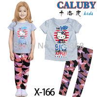 Free shipping baby cartoon hello kitty  summer pajamas girls apple pyjamas kids short sleeves t shirt+pants nightgown/homewear