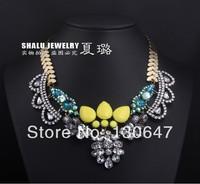 2014 new High Quality women big fashion chain necklace costume choker flower Necklaces & Pendants luxury statement jewelry women