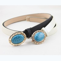 Wholesale Vintage Rhinestone Belt For Women Round Buckle With Turquoise Waistband