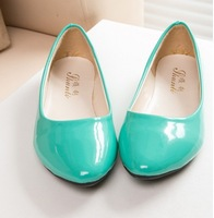 New 2014 candy solid color pointed toe ballet flats four seasons flat shoes women work shoes plus size 5 colors