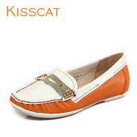 Kisscat KISS CAT sheepskin fashionable casual color block metal elegant flat shallow mouth ol formal shoes