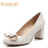 Kisscat KISS CAT 2014 spring k44169-04qc sheepskin thick heel shoes bow