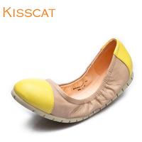 Kisscat KISS CAT sheepskin k44202-04 colorant match genuine leather flat shoes 2014