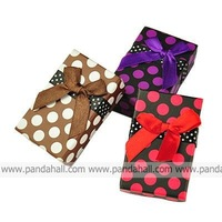 Rectangle Cardboard Jewelry Boxes, Sponge inside, with Bowknot, Mixed Color, 80x50x27mm