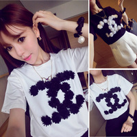 3D Floral C Letter Appliques Short-Sleeve O-neck Cotton Women Brand T Shirt Fashion Brand Tops Tees For Ladies