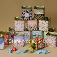 Free shipping 14pcs/lot 2014 new arrival creative candy box Mini tea caddy box storage tin box 5.5*5.5*6cm