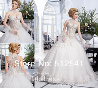 Top Quality Sheer-illusion Pearls Beading Crystal Wedding Dresses 2014 Rhineston Sweetheart A Line Bridal Gowns yk8R710
