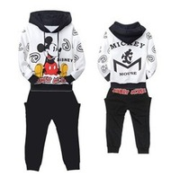 QZ017,6 sets/lot hot sale boy sports suit thick cotton baby hooded clothes set mickey pattern winter kid garment wholesale
