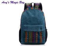 National trend vintage high quality water wash striped canvas backpack denim jeans blue double shoulder school bag knapsack
