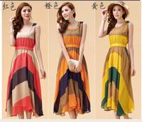 Summer Women's Chiffon Long Pleated Stripe Sleeveless Dresses Casual Dress Free Shipping red orange yellow  LY070