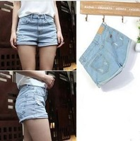 1PC New Fashion Korean Summer Women Ladies Girls Loose Hole Lanky Retro Frayed Hem Denim Jeans Shorts Free&Drop Shipping