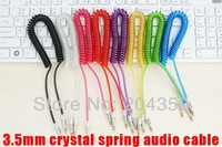 3.5 Male to Male Spring Retractable Extension Spiral Stretch Crystal AUX Audio Cable for phone mp3 mp4 20pcs/lot