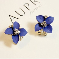 Free Shipping!2014 Fashion Flower Earrings Noble Navy Blue Oil Vintage Camellia Rhinestone Stud Earring Ear Clip Gift