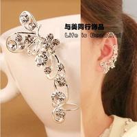 New Arrival 2014 Ear Clip Rhinestone Butterfly No Pierced Spiral Earrings U Shaped Clip Earring Jewelry For Women Accessories