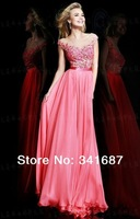 2014New arrival chiffon Tulle A-line short sleeve backless V-neck floor length Applique sexy pius size Bridal Gown Evening Dress
