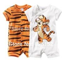 Newborn baby boy Summer short sleeve cartoon tiger romper infant Cotton rompers boy's girl Wear Stripes baby Romper baby clothes