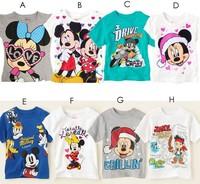 Free Shipping 5pcs children's t shirt short sleeve sport cartoon t-shirts boys girls Mickey Minnie sports clothing summer wear