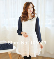 2014 new spring pearl collar long sleeve maternity dress free shipping a9050