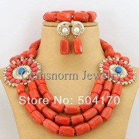 Fashion Nigerian Coral Beads for Wedding African Beads Jewelry Set for Wedding Free Shipping CNR153