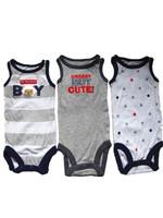 Brand Carter's Baby boy's newborn sleeveless vest cotton 3-piece white/grey striped bodysuits infantil clothing