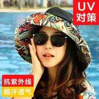 Hat summer folding women's sunbonnet big sun hat along the cap beach cap anti-uv sun hat flower