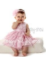 wholesale--2014 new 5 sets baby girl dress party princess red chiffon dress + headband 5pcs/1lot