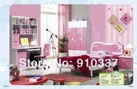 4 Pcs MDF Panels Pink Children Girl Youth Bedroom Furniture Set