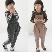 2014 spring and autumn girls clothing set,baby child bib pants spaghetti strap pants,girls wear,free shipping