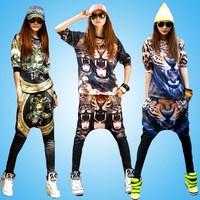 Punk fashion Sumemr Sportswear Hip hop clothes Personalized New 2014 spring Harem pants hip hop Casual set Women sport suit