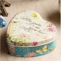 Free shipping Heart Shape Zakka Storage Tin Box Jewel Case Sundries Box 11*12*4.6CM