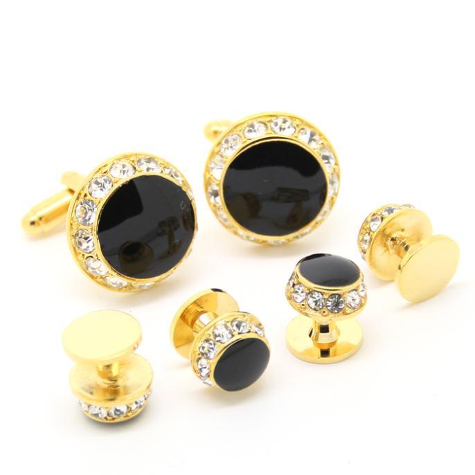 Gold and Rhinestone Cufflinks Tuxedo Stud Sets(China (Mainland))