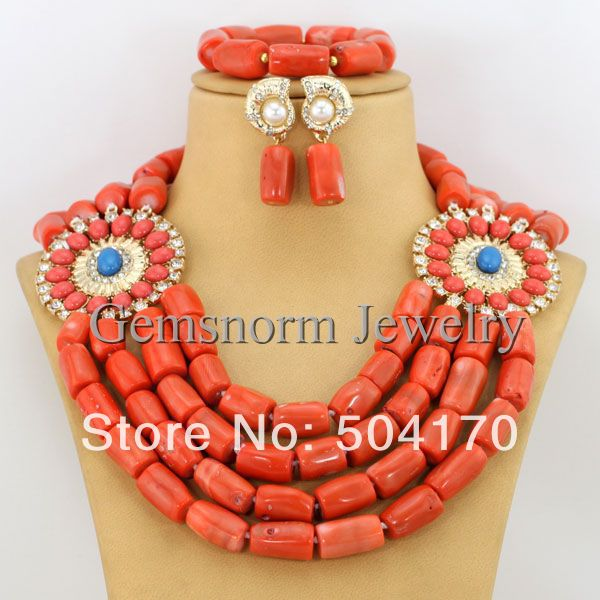 Free Shipping African Bridal Coral Beads Necklace Set Chunky African Wedding Jewelry Set CNR154-1(China (Mainland))