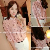 2014 ladies elegant pink kitten chiffon shirt