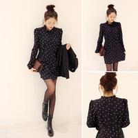 Elegant 2014 spring sweet involucres princess black polka dot vintage dress one-piece dress