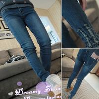 2014 spring super vintage distrressed jeans female trousers pencil pants
