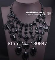 2014  new shourouk mixed color rainbow flower rope luxurious gem cheap shourouk necklace choker collar necklace