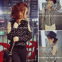 2014 spring vintage chiffon strapless fancy polka dot stripe shirt female shirt
