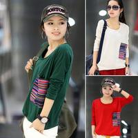 Elegant female 2014 spring women's mm Women loose round neck T-shirt female long-sleeve basic shirt