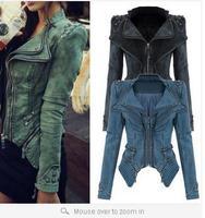 Hot Women's Sharp Power Punk Studded Shoulder Rivet Notched Lapel Denim Jeans Tuxedo Coat Blazer Jacket