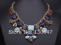 2014 new Wegirl Handmade Pageant Vintage Necklace Mixed with Acrylic &Rhinestones Gold Plated Spike Vintage Jewelry