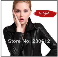 2014 spring Fashion women Short Genuine Sheepskin Leather Jacket women Short Motor leather Jacket Leather suit Coat Women C1909