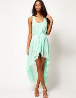 2015 NEW fashion irregular Asymmetric chiffon dress,plus size S -- XXXL women sexy Dovetail dress, candy color sexy party dress