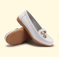 SUNROLAN women genuine leather flats woman flat fashion nurse shoes women's round toe flexible ballet shoes driving loafer 515
