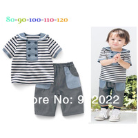 Free Shipping Children Clothing boy's crew neck collar shirt with shorts 2 piece per set