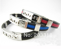 100pcs/lot New Titanium&Silicone Bracelet, silicone bangles with Hollow out design Titanium ,Hot wristband gift