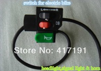 wholesale electric bike switch with headlight,signal light and horn functions/three in one switch for ebike/three buttons switch
